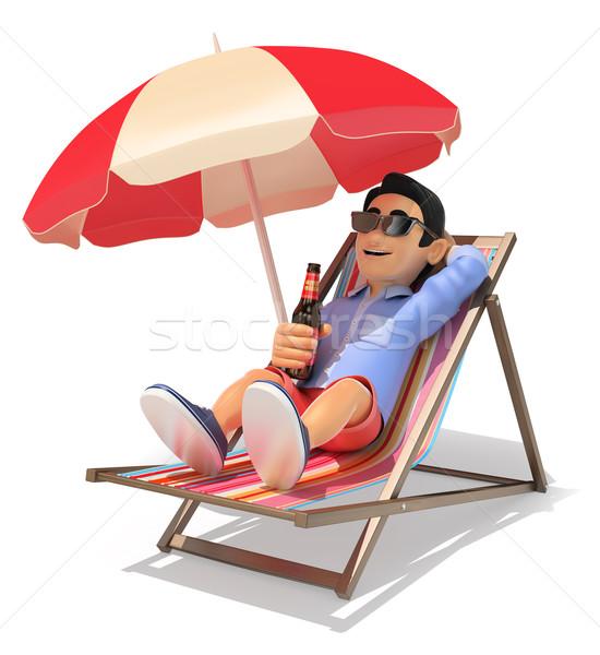 3D fiatalember rövidnadrág tengerpart iszik sör Stock fotó © texelart
