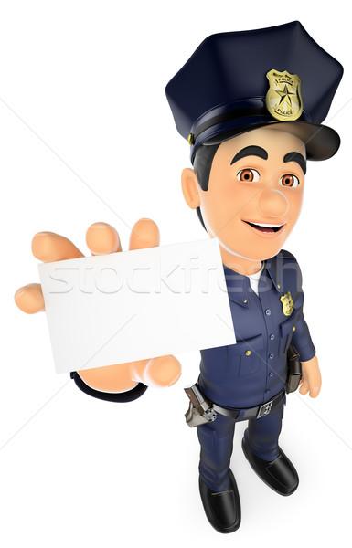 3D policier carte vierge sécurité forces personnes Photo stock © texelart