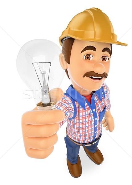 Zdjęcia stock: 3D · elektryk · żarówka · pracy · ludzi · ilustracja