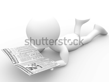 3D human reading the newspaper lying Stock photo © texelart