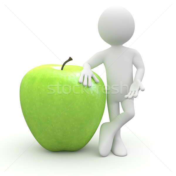 Man leaning on a huge green apple Stock photo © texelart
