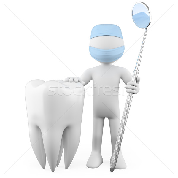 Dentist with a tooth and a mouth mirror Stock photo © texelart