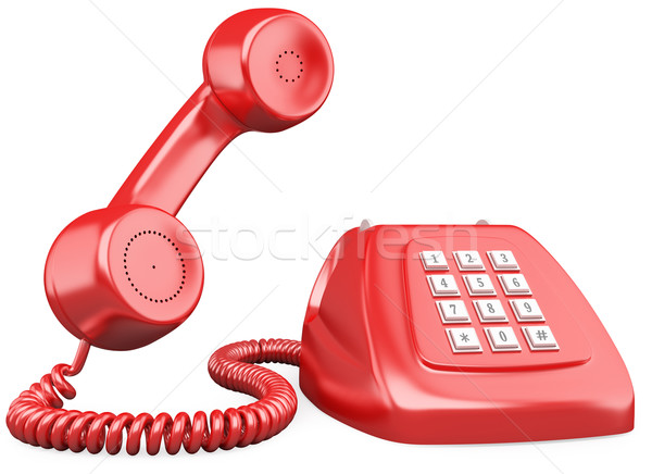 3D red old fashioned style telephone Stock photo © texelart