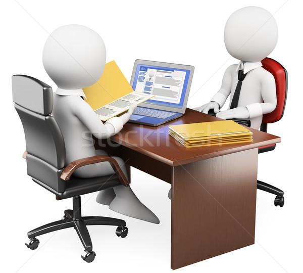 3D fehér emberek állásinterjú fehér üzletember közösségi hálózatok Stock fotó © texelart