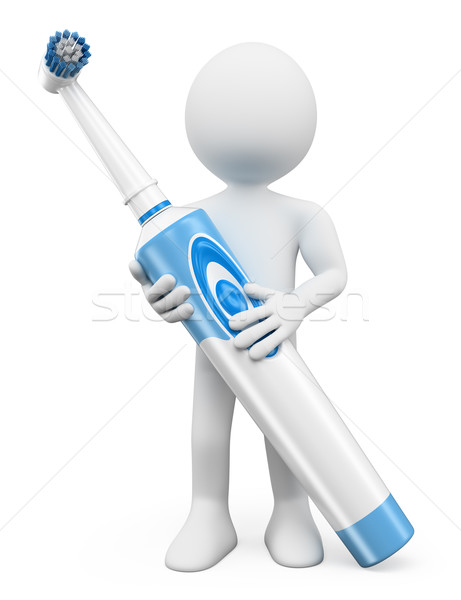 3D white people. Electric toothbrush Stock photo © texelart