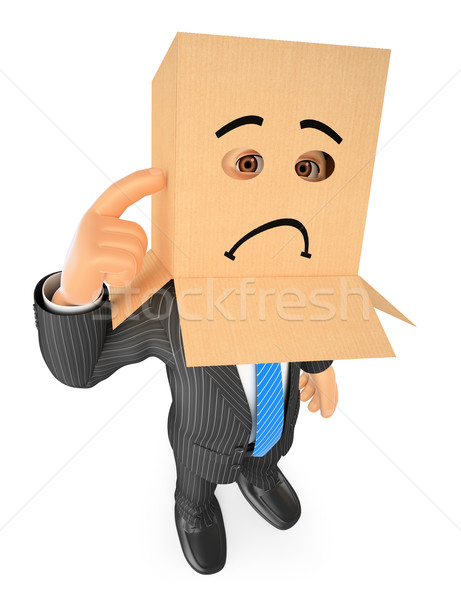 3D Businessman with cardboard box on head. Sad Stock photo © texelart