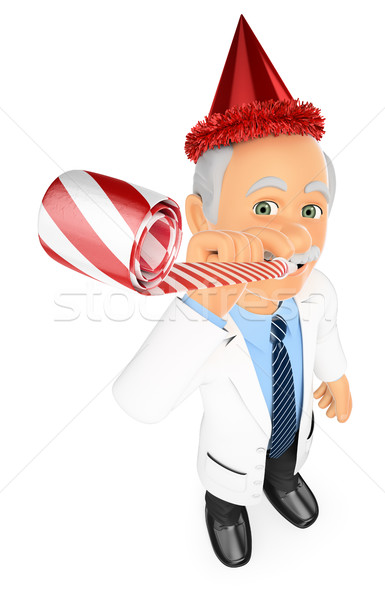 3D Doctor in a party celebration with blower and hat Stock photo © texelart