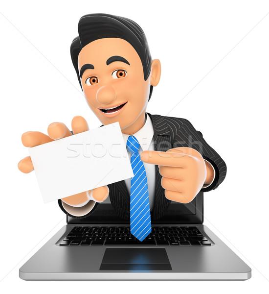 3D üzletember ki laptop képernyő üres kártya Stock fotó © texelart