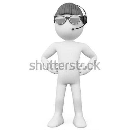 Foto stock: Guarda-costas · seis · óculos · de · sol · fones · de · ouvido · prestados · alto