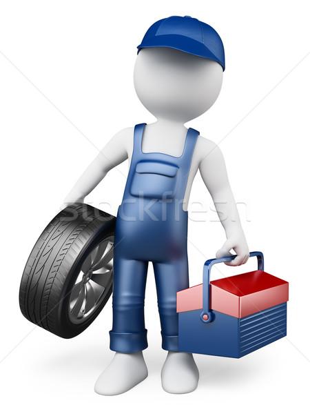 3D white people. Car mechanic Stock photo © texelart