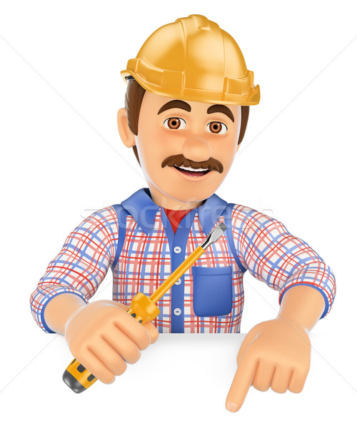3D Electrician with a screwdriver pointing down. Blank space Stock photo © texelart