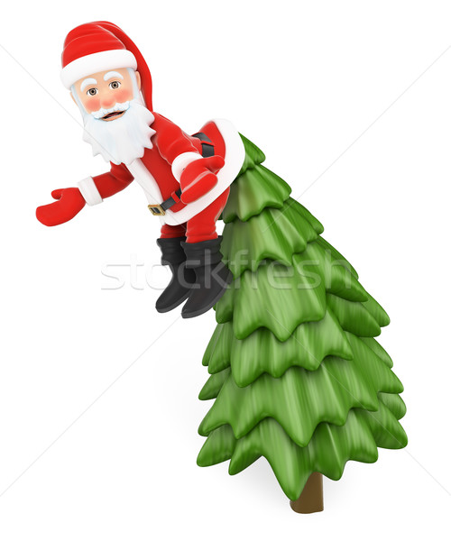 3D Santa Claus hanging from the top of a fir incredulously Stock photo © texelart