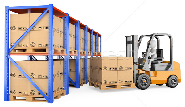 3D white people. Forklift in a warehouse Stock photo © texelart