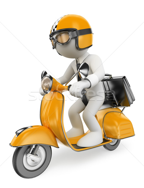3D white people. Businessman on a moto scooter Stock photo © texelart