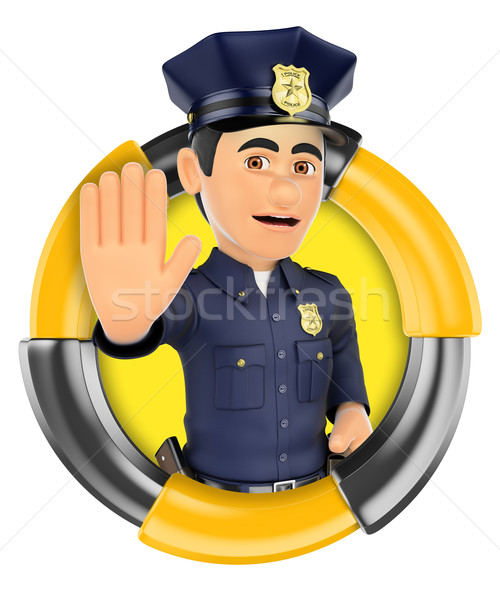 3D Logo. Policeman ordering to stop with hand Stock photo © texelart