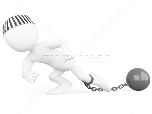 Prisoner dragging a heavy metal ball Stock photo © texelart