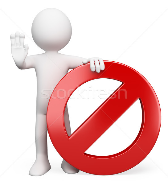 3D white people. Forbidden sign Stock photo © texelart
