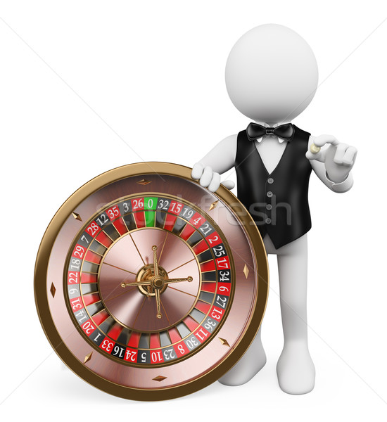3D white people. Croupier with roulette in a casino Stock photo © texelart