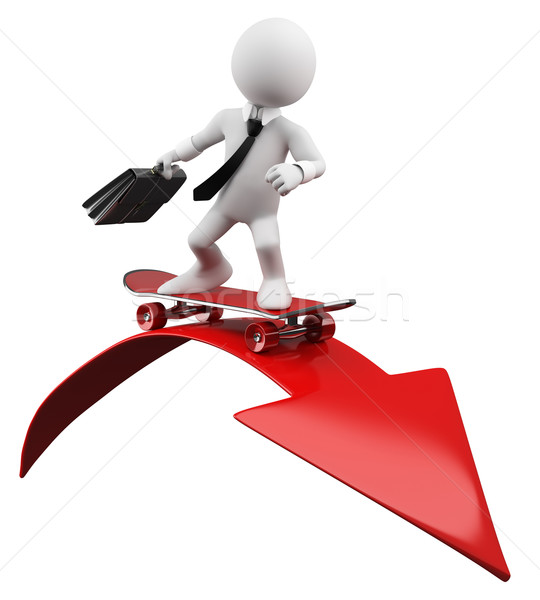 Stock photo: 3D Businessman - Red arrow