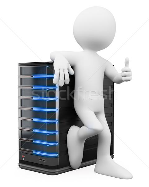 3D fehér emberek adminisztrátor hüvelykujj felfelé szerver Stock fotó © texelart