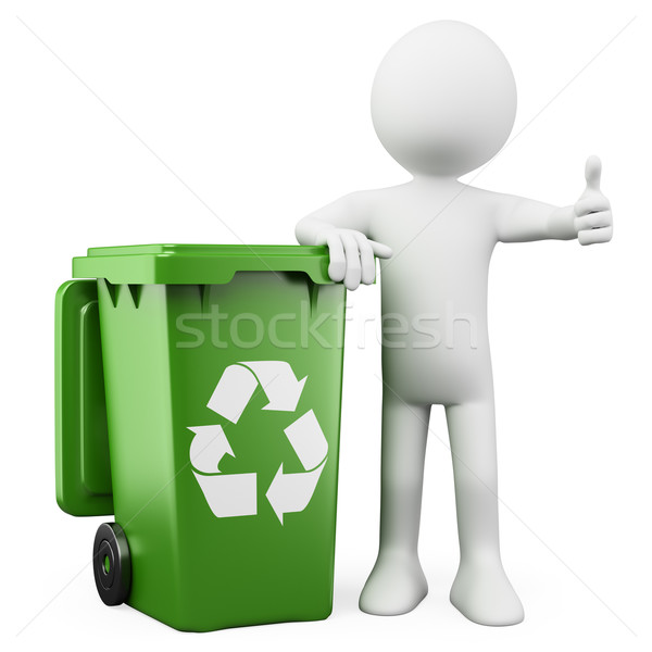 3D person showing a green bin for recycling Stock photo © texelart