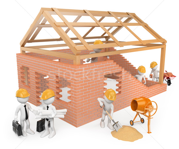 Stock photo: 3D white people. Construction workers building a house