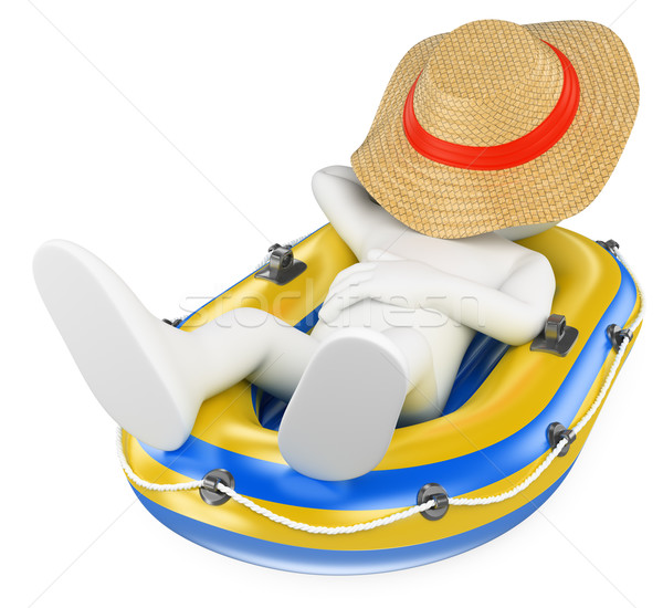3D white people. Man napping in an inflatable boat Stock photo © texelart