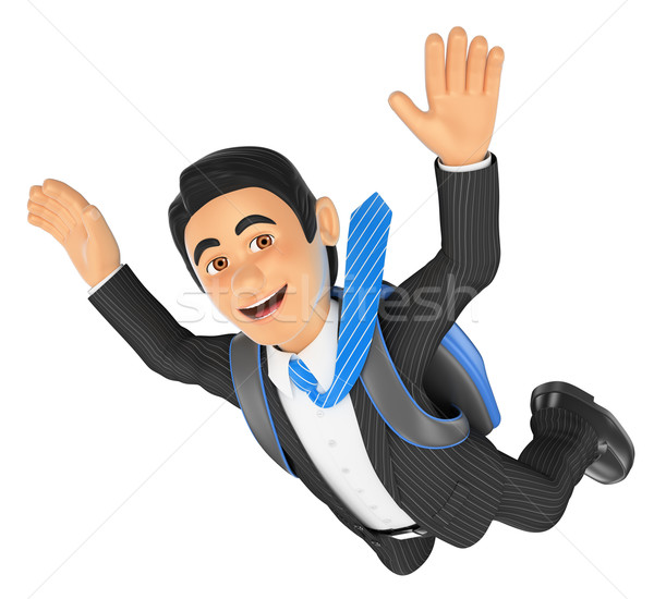 3D Businessman jumping in parachute Stock photo © texelart