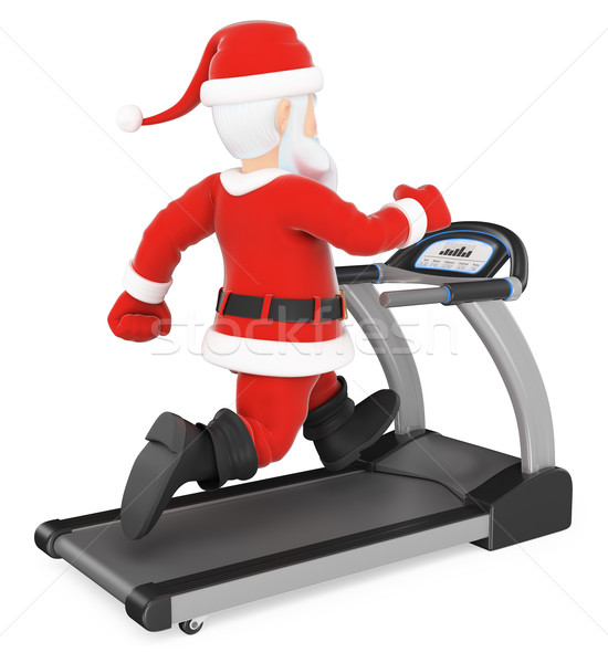 3D Santa Claus training hard on a treadmill Stock photo © texelart