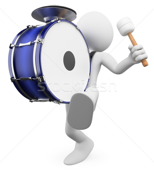 3D white people. Playing drums Stock photo © texelart