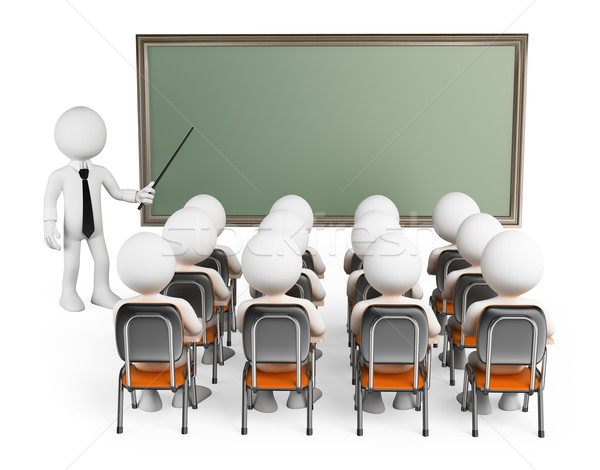 3D white people. Students in class Stock photo © texelart