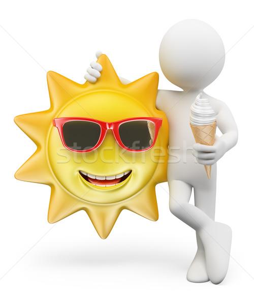 ストックフォト: 3D · 白の人々 · 夏 · アイスクリーム · 笑みを浮かべて · 太陽