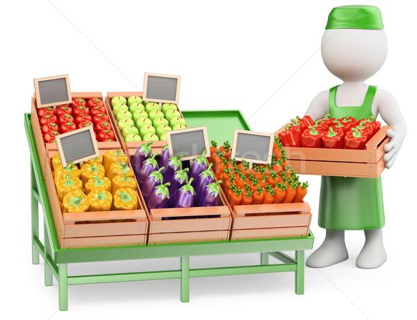 3D white people. Greengrocer Stock photo © texelart