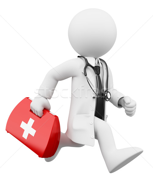 3D white people. Doctor running with a first aid kit Stock photo © texelart