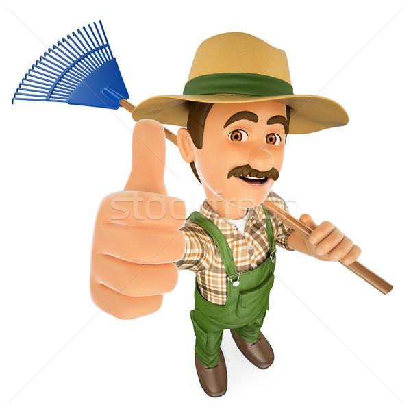 3D jardineiro ancinho polegar para cima trabalhando Foto stock © texelart