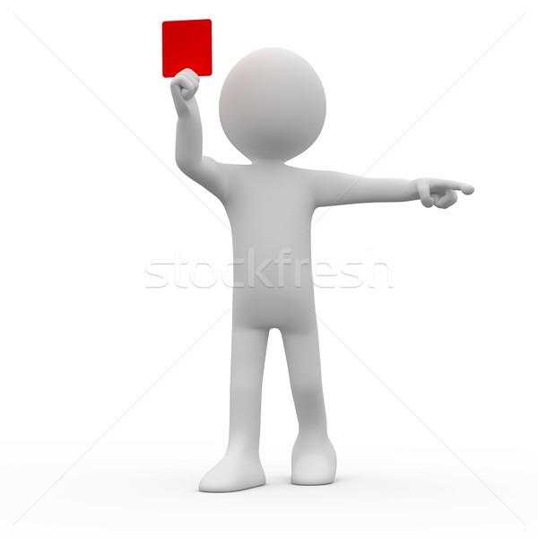 Photo stock: Arbitre · rouge · carte · pointant · index