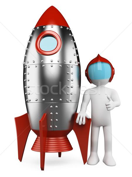 3D biali ludzie astronauta statek kosmiczny biały retro Zdjęcia stock © texelart
