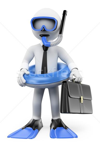 3D white people. Businessman thinking about holidays Stock photo © texelart