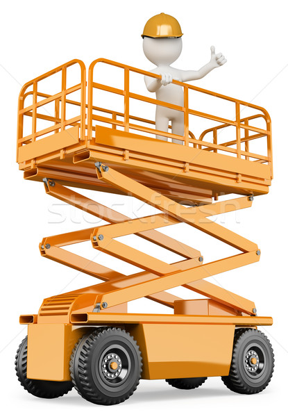 3D white people. Engineer on a lifting platform Stock photo © texelart