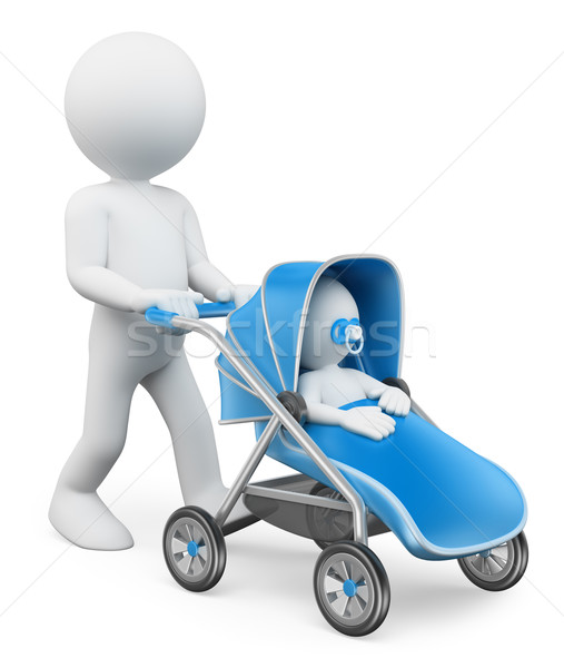3D white people. Man pushing a baby stroller Stock photo © texelart