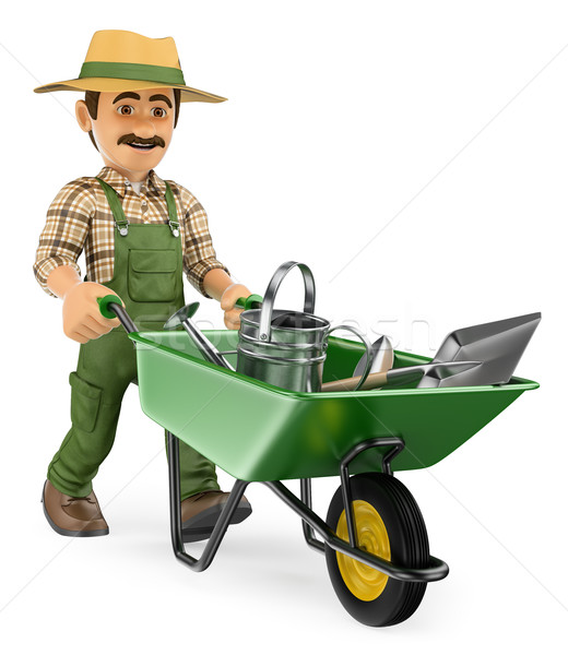 3D Gardener pushing a wheelbarrow with gardener tools Stock photo © texelart