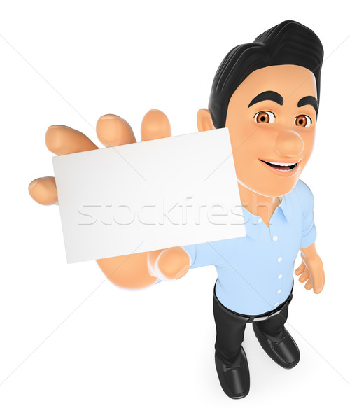 3D Information technology technician showing a blank card Stock photo © texelart