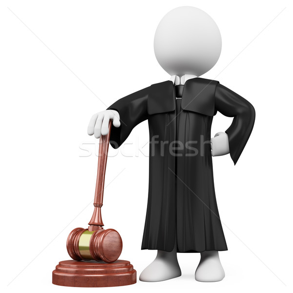 Stock photo: 3D judge with robe and hammer