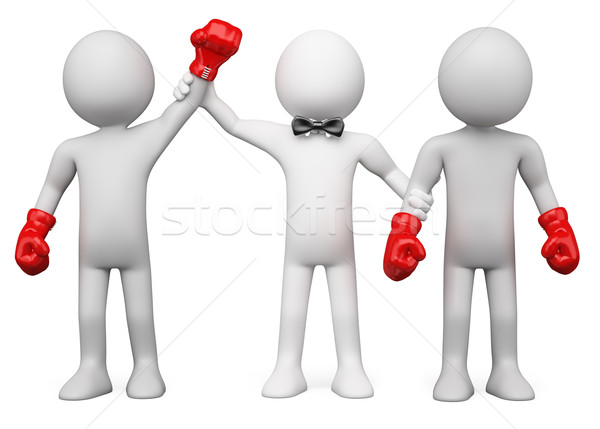 Stock photo: 3D Boxing Referee choosing the winner between two boxers