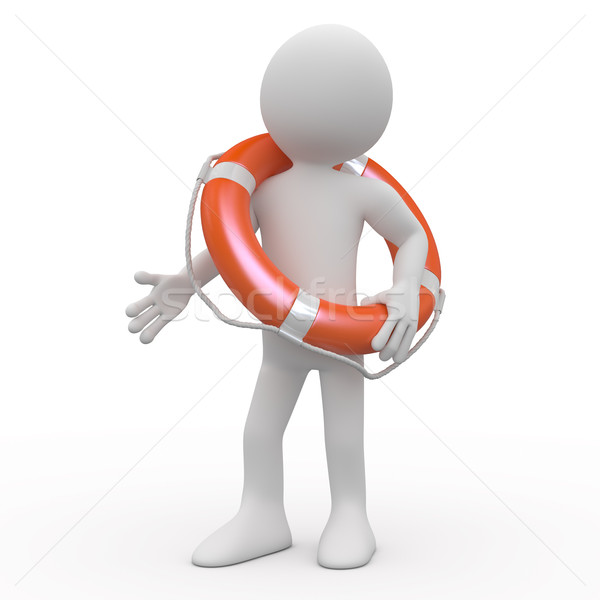 Man with an orange life preserver Stock photo © texelart