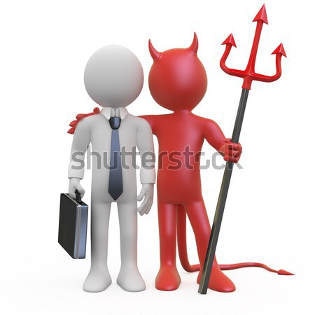 Devil posing with his red and black trident Stock photo © texelart