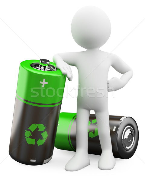 3D Man - Recyclable batteries Stock photo © texelart