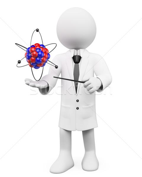 3D witte mensen hoogleraar fysica atoom witte Stockfoto © texelart