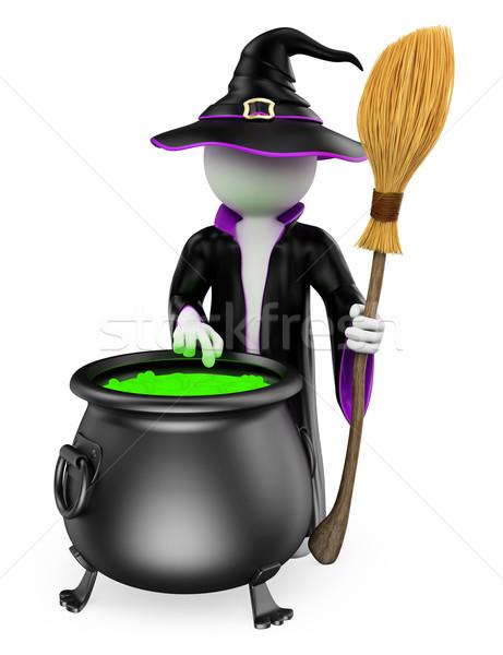 3D beyaz insanlar cadı pişirme halloween Stok fotoğraf © texelart
