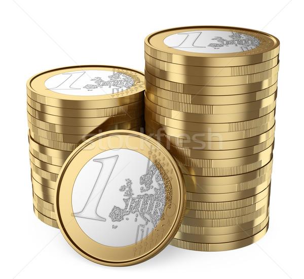 3D Pile of euro coins Stock photo © texelart